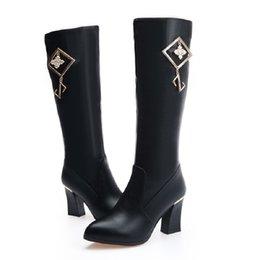 chunky high heels dress shoes 2019 - 2018 New Women's Chunky Heel Dress Winter Shoes Sale Online Black Heeled Knee High Martin Boots discount chunky hig