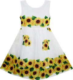 green leaf clothes Australia - Girls Dress Yellow Sunflower Green Leaves Sleeveless 2017 Summer Princess Wedding Party Dresses Girl Clothes Size 2-6 Pageant