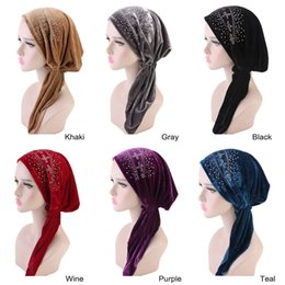 $enCountryForm.capitalKeyWord Canada - Muslim Women Drill Bandana Velvet Pre-Tied Turban Hat Durag do doo du rag Headwear Headscarf long tail headwrap Skull Cap Hair Accessories