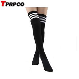 45eed4a5775 White Costume Socks Australia - TPRPCO Cosplay Socks Women s Striped Over  Knee Girl Lady Black White