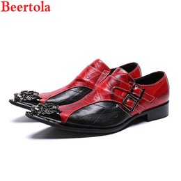 Formal Shoes Official Website Beertola Chaussure Homme 2018 Red Fashion Men Shoes Metal Gold Pointed Toe Leather Shoes Chain Dress Wedding Business Shoes Man Year-End Bargain Sale