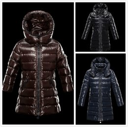 jacket hat baby 2018 - New Fashion Brand Kids LONG Down Jackets Child down coats Girl Outdoor Winter Warm Feather coats Baby Winter Thick 90% D
