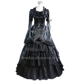 Civil War Costumes Halloween Australia - Civil War Gothic Lolita Satin Ball Gown Dress Black Dress Long Sleeve Beautiful for Party Fast Shipping Halloween Party