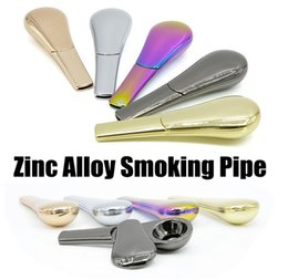 E Cigarette Smoking Pipe NZ - Rainbow Metal Magnet Smoking Pipe Zinc Alloy Magnetic 95mm Length 24mm diameter Tobacco Pipes e Cigarette Smoking Pipes