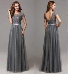 193b5f49b24d Dark Grey Lace Tulle Long Modest Bridesmaid Dresses With Short Sleeves  Floor Length Women Sheer Neckline Formal Wedding Party Dresses HY4266