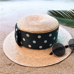 d5b41c951c5 Handmade Weave Women Wheat Straw Boater Sun Hat For Lady Summer Beach Flat  Sunbonnet Fashion Bowknot Pork Pie hat Size 56-58CM