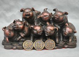 China Pole Australia - China Feng Shui Bronze Wealth Money lovely Animal Zodiac Pig Kid Statue