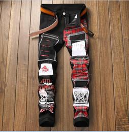Discount korea fashion men pants - korea style big size jeans men's stitch patch style fashion hole jeans denim pants white casual streight leg jeans
