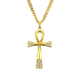 Egypt Pendants Australia - 5mm 30inch stainless steel cuban chain Fashion Ankh Key Egypt With Crystal T Cross Pendant Necklace Hip-Hop Jewelry N767