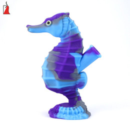 colorful silicone bongs UK - Free type silicon tobacco pipe creative seahorse silicone bong hot selling glass oil pipes with colorful bubbler