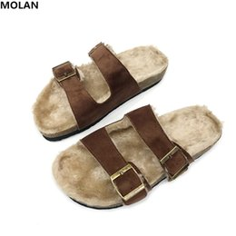 $enCountryForm.capitalKeyWord UK - MOLAN Brand Designers 2018 Winter Soft Hair Double Buckle Belt Woman Plush Slides Slip On Loafers Mules Flip Flops Outside 35-40