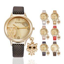 Gold Acrylic Pendants NZ - Luxury Diamond Watches Women Owl Pendant Wristwatches snakeskin style Leather Band Dress watches Crystal hours gold Wristwatch