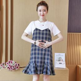 ... Fashion Summer Blue Straps Summer  factory outlets d178a 259dc Woman  Clothes Korean Summer Canada - Plaid Cotton Patchwork Maternity Dress 2018  ... 54b50aa88