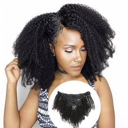 African American Hair Wholesale Australia - 8A Mongolian Virgin Hair African American afro kinky curly 8pcs per set clip in human hair extensions natural black clips ins