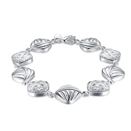 $enCountryForm.capitalKeyWord UK - Hot sale !Square chain lobster claw clasp 925 silver bracelet JSPB333 ;Hot sale girl women sterling silver plated Beaded, Strands Bracelets