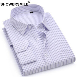 Discount smart clothing - SHOWERSMILE Brand Striped Shirt Men Cotton Formal Long Sleeve Shirt Male Slim Fit Smart Casual Office Wear Clothing New