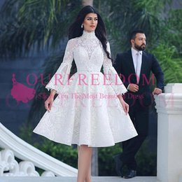 knee high dresses skirts NZ - 2019 Said Mhamad Long Sleeve Wedding Dresses High Neck Lace Knee Length Country Bridal Gown Custom Made Hot Sale