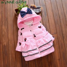 cartoon kids wear 2018 - WYNNE GADIS Winter Baby Girls Cartoon Mouse Hooded Thick Warm Princess Bow Outerwear Kids Infant Snow Wear Coat Casaco d