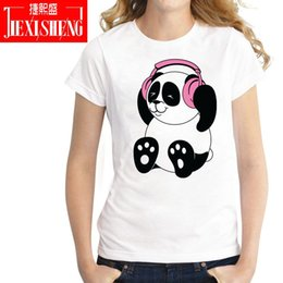 women panda tee NZ - Women's Tee Summer Funny Dj Panda Print Women T Shirt Cool Harajuku T-shirt Casual Short Sleeve Tshirts Plus Size White Tops Tees