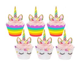 Discount unicorn cakes - new arrive Cute Rainbow Unicorn Cupcake Cake Wrappers Toppers Baby Shower Kids Children Birthday Party Decorative Suppli