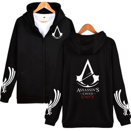 Chinese  Classic RPG Game Hooded Hoodies Men Zipper Assassins Creed Aveline Fashion Black Sweatshirts Men Zipper Hoodies Casual Clothes manufacturers