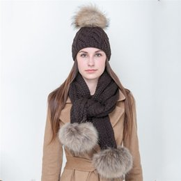 2235a96fa938f 2 Pieces Cotton Knitted Warm Scarf And Hat Set For Women 2018 Winter Pom  Pom Caps Beanies Fluffy Ladies Fur Pompom Ball Scarves