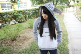 anime style clothing NZ - New Fashion Cute Girl's Totoro Hoodies With Ears Style Hood Pullovers Gray Cotton My Neighbor Sweatshirt Anime Cartoon Tops Cheap Clothing