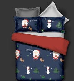 Discount christmas quilts - Christmas Bedding Set Santa Claus Print Bed Merry Christmas Gift white Bedclothes queen king Duvet Quilt Cover