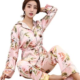 Spring Ladies 2PCS Robe+Pants Sleep Suit Print Floral Sleepwear Set Casual  Silky Pajamas Sexy Nightwear Kimono Bath Gown 721967fe4