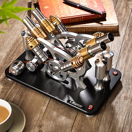 Engine Setting Australia - 2018 Metal Stirling Engine V4 Four Cylinder   Two Low Temperature Micro Generator Set Education Puzzle Collection Hobby Gift