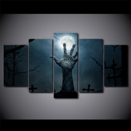 Canvas Prints Free Shipping UK - 5 Piece Canvas Art HD Print Home Decor zombie mano ween Paintings For Living Room Wall Poster Picture Free Shipping UP-2296C