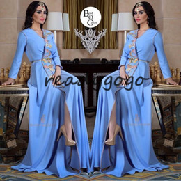 white caftan dress Canada - Ice Blue Long Sleeve Caftan Prom Formal Dresses with Long Sleeve 2019 V-neck Floral Lace Detail Slit Dubai Abaya Arabic Evening Dress