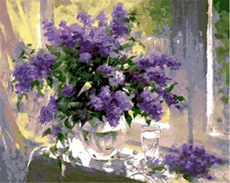 Dpf online shopping - DPF DIY Window lilac flower Oil Painting By Numbers Frameless Paint On Canvas Wall Pictures For Living Room Wall Art Home Decor