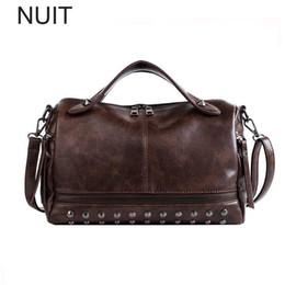 5ac690a61400 Fashion PU Leather Retro Women Handbags Women Shoulder Bags Casual Tote  Ladies Hand Bags Female Crossbody Boston Rivet
