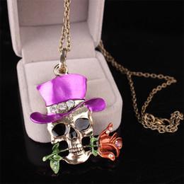 $enCountryForm.capitalKeyWord Australia - Long Chain Gothic Antique Necklace Everyday Jewelry Gift Skull Rose Flower Vintage Enamel Pendant Crystals Halloween Christmas Gift