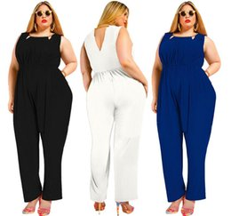 ba48983ffe99 3xl 4xl 5xl plus size women wide leg jumpsuit 2018 summer sleeveless long  pant sexy club party fashion overalls black white blue