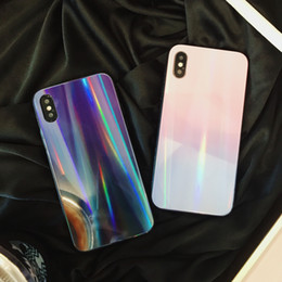 Free Cellphone Cases Australia - For iphone X Cellphone Cases Gradual Laser Tempered Glass Back Cover For iphone 7 8 6 6s plus Couple Shell Case Creative Free DHL A795