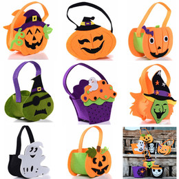 Face tote online shopping - Halloween Pumpkin Candy Bag Cute Smile Basket Face Children Gift Handhold Pouch Tote Bag Non woven Pail Props Decoration styles HH7