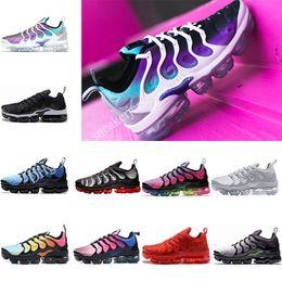 Discount rainbow grapes - Air Tn Plus Men Running shoes TRIPLE BLACK red Grape rainbow blue Hyper Violet Athletic Sports Shoes male shoe for joggi