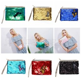 Wholesale Mermaid Sequins Clutch Bag Mermaid Makeup Bag Colors Handbag Bling Glitter Evening Party Bag Sparkling Shiny Cosmetic Bags OOA5218