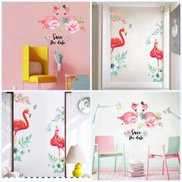 Vinyl art for walls online shopping - Home Decor Wall Sticker Love Flamingo Art Removable Save The Date High Quality Pvc Stickers Mildew Proof Living Room Background lk jj
