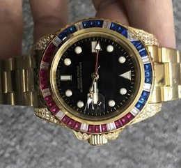 Men dress autoMatic watches online shopping - Automatic Luxury Men Mechanical Watches Blue Red Diamond Bezel Gold Stainless Steel Limited Edition Mens Dress Wristwatch Water Resistant