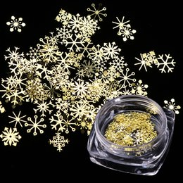 Wholesale Gold Glitter Boxes NZ - 1 Box Nail Glitter Christmas Gold Snowflakes Nail Art Sequins Powder Dust Flakes 3D Charm Decoration UV Gel Polish Tips JI889