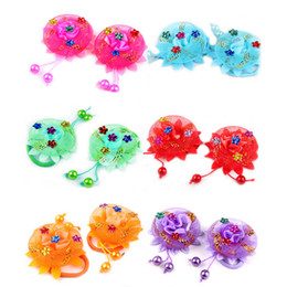 Red Roses For Hair NZ - Lace Rose Flower Hair Ropes Elastic Scrunchie for Kids Girls Head Wear 6 Colors