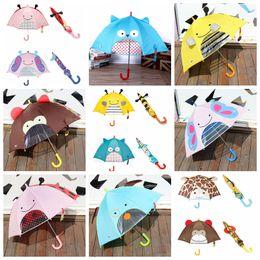 Discount kids cartoon umbrella - 7 Colors children kids 3D cartoon ear umbrella long handle sun rain protection lovely Children's umbrellas GGA700 5