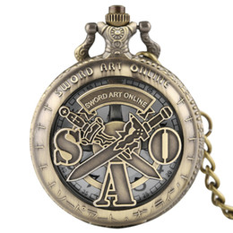 Swords Gifts NZ - Hollow Mens Women Quartz Pocket Watch Retro SAO Sword Art Online Games With Necklace Pendant Chain for Gifts Relogio De Bolso