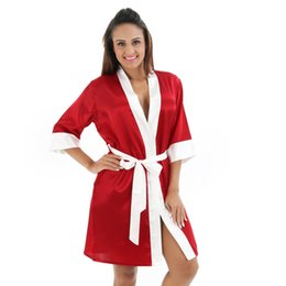9c4a647552 Ladies Satin Silk Cardigan Sexy Contrast Trim Striped Bath Gown Sleep  Sleepwear Robe Femme Bathrobe Pajamas Bathrobes Nightgown