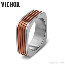 Accessories Rings For Girls Canada - Brand Simple Style Square Rings 316L Stainless Steel Band Rings Fashion Jewellry For Women Girl Accessories bague femme New Design VICHOK