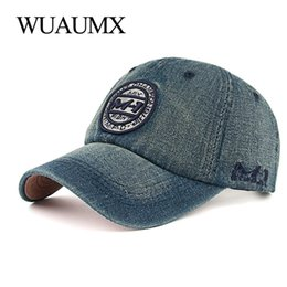 Wuaumx Unisex Casual Baseball Cap Men Women Denim Tracker Caps Sports Sun  Cap Curved peak Hat Embroidery Adjustable Casquette f40322cb86f