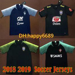 8fa7085a6 Camiseta de entrenamiento de la copa del mundo de Brasil camiseta de fútbol  de Brasil 2018 2019 10 MBAPPE 7 RONALDO negro azul camisa blanca de la  camiseta
